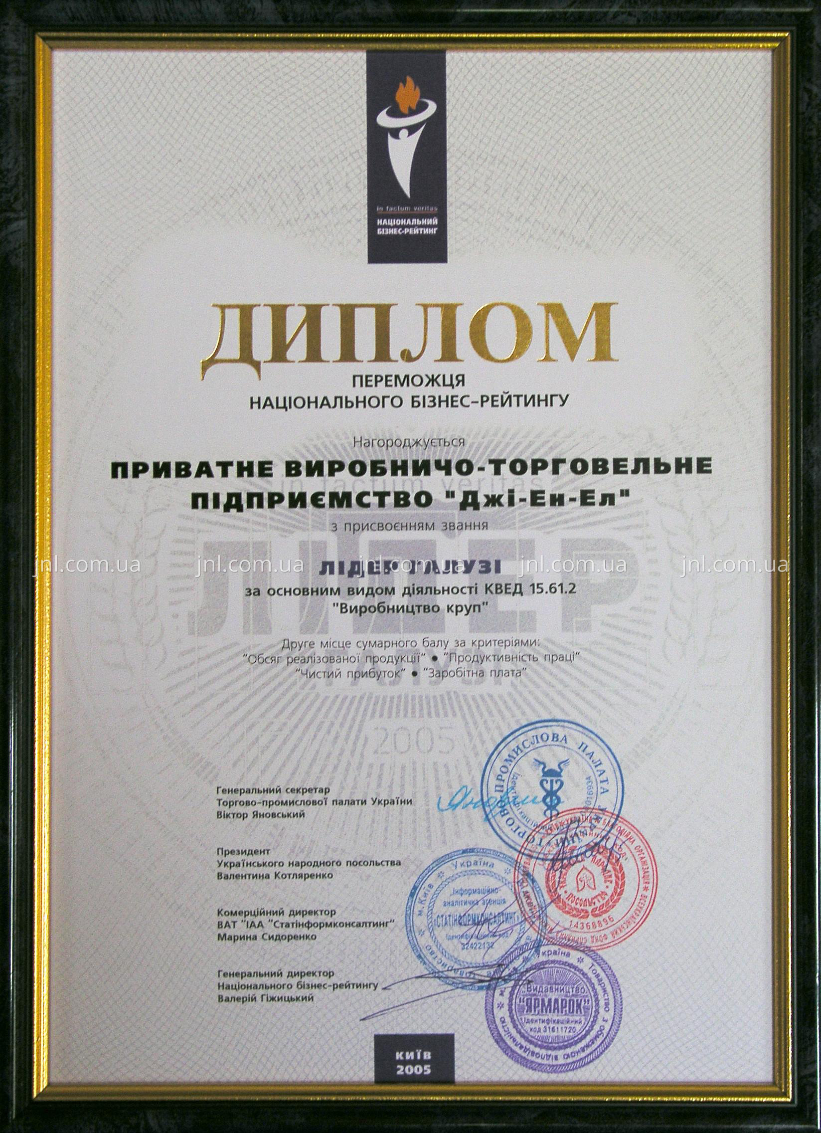 "The winner of National Business Rating ""The leader of the branch of industry-2005"""